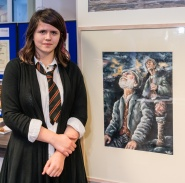 pic 17 Sara Oussaiden (14) with painting of Collie and Mackenzie
